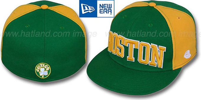 Celtics 'HW JMACK ARCH' Green-Gold Fitted Hat by New Era : pictured without stickers that these products are shipped with