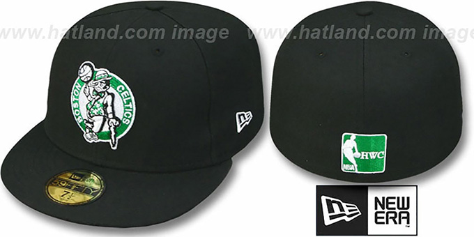 Celtics HW 'TEAM-BASIC' Black Fitted Hat by New Era : pictured without stickers that these products are shipped with