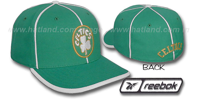 Celtics HW 'WILDSIDE' Fitted Hat by Reebok - green : pictured without stickers that these products are shipped with