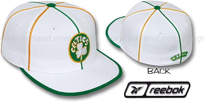 Celtics 'HW WILDSIDE' White Fitted Hat by Reebok : pictured without stickers that these products are shipped with