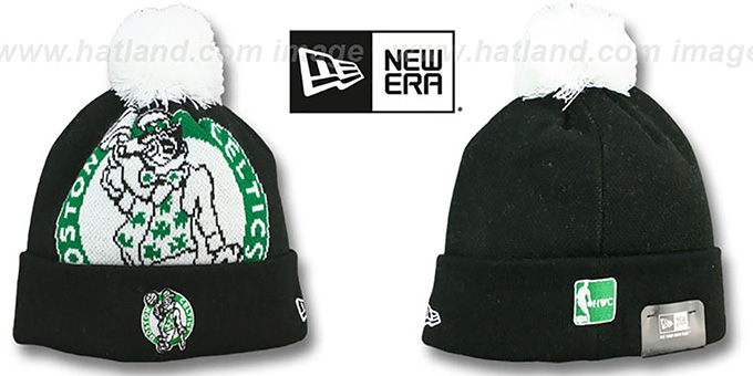 Celtics 'HWC-BIGGIE' Black Knit Beanie Hat by New Era : pictured without stickers that these products are shipped with