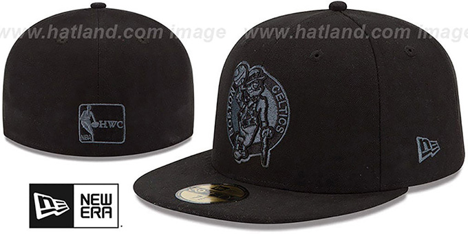 Celtics 'HWC FADEOUT-BASIC' Black Fitted Hat by New Era : pictured without stickers that these products are shipped with