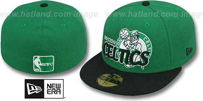Celtics 'HWC-TIGHT' Green-Black Fitted Hat by New Era : pictured without stickers that these products are shipped with