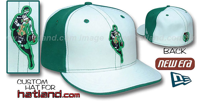 Celtics INSIDER 'PINWHEEL' White-Kelly Fitted Hat by New Era : pictured without stickers that these products are shipped with