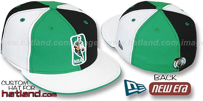 Celtics 'KEY-INSIDER PINWHEEL' Kelly-Black-White Fitted Hat : pictured without stickers that these products are shipped with