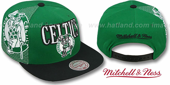 Celtics 'LASER-STITCH SNAPBACK' Green-Black Hat by Mitchell and Ness : pictured without stickers that these products are shipped with