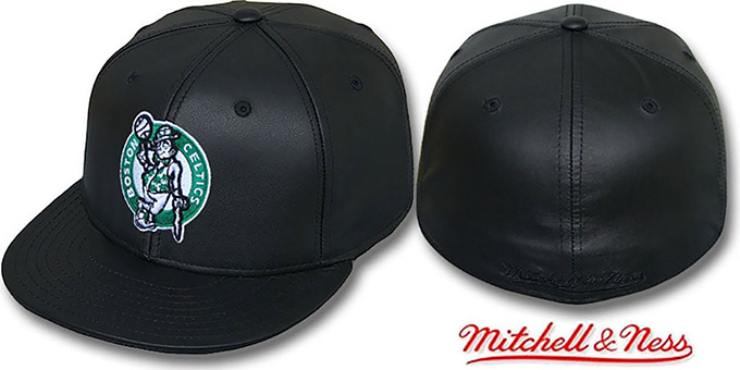 Celtics 'LEATHER HARDWOOD' Fitted Hat by Mitchell and Ness : pictured without stickers that these products are shipped with