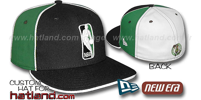 Celtics 'LOGOMAN-2' Black-Kelly-White Fitted Hat by New Era : pictured without stickers that these products are shipped with
