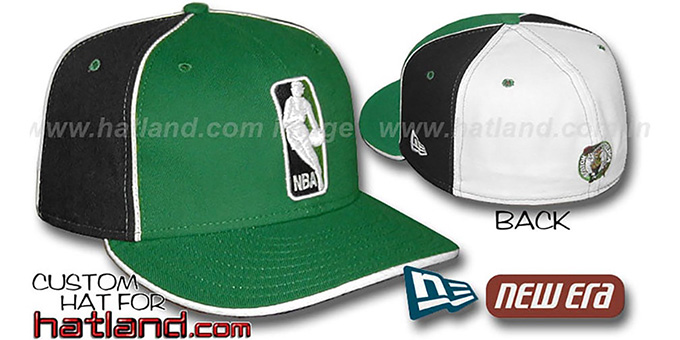 Celtics 'LOGOMAN-2' Kelly-Black-White Fitted Hat by New Era : pictured without stickers that these products are shipped with