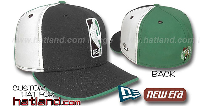 Celtics 'LOGOMAN' Black-White-Kelly Fitted Hat by New Era : pictured without stickers that these products are shipped with