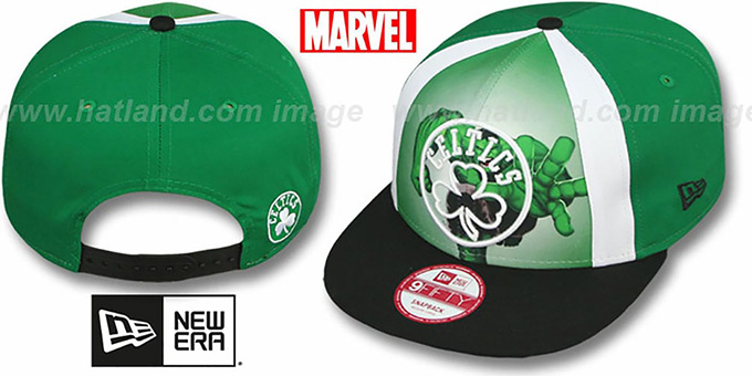 Celtics 'MARVEL RETRO-SLICE SNAPBACK' Green-Black Hat by New Era