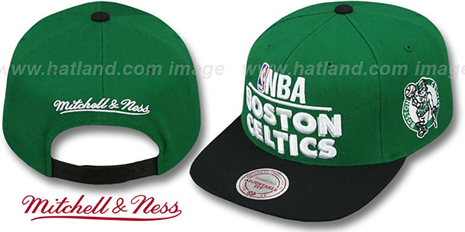Celtics 'MEDIA-DAY SNAPBACK' Green-Black Hat by Mitchell & Ness : pictured without stickers that these products are shipped with