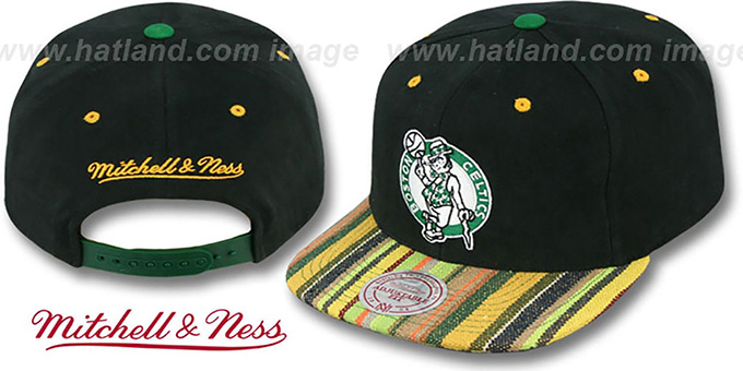 Celtics 'NATIVE-STRIPE SNAPBACK' Black Hat by Mitchell & Ness : pictured without stickers that these products are shipped with
