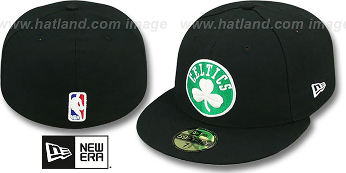 Celtics 'NBA-CHASE' Black Fitted Hat by New Era : pictured without stickers that these products are shipped with