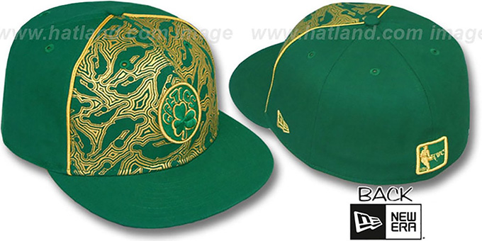 Celtics 'NBA-FOIL' Green-Gold Fitted Hat by New Era : pictured without stickers that these products are shipped with