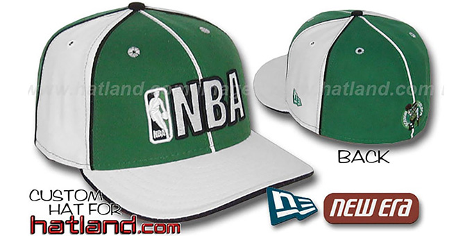 Celtics NBA 'PINWHEEL-3' Kelly-White Fitted Hat by New Era : pictured without stickers that these products are shipped with