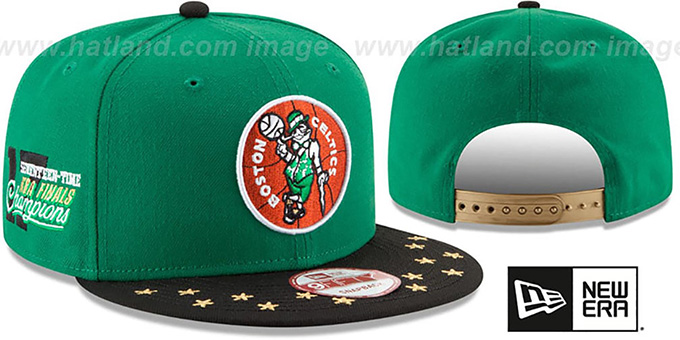 Celtics 'NBA STAR-TRIM SNAPBACK' Green-Black Hat by New Era : pictured without stickers that these products are shipped with