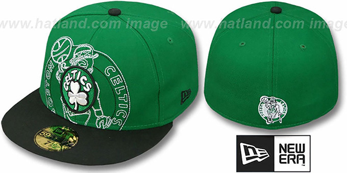 Celtics 'NEW MIXIN' Green-Black Fitted Hat by New Era : pictured without stickers that these products are shipped with