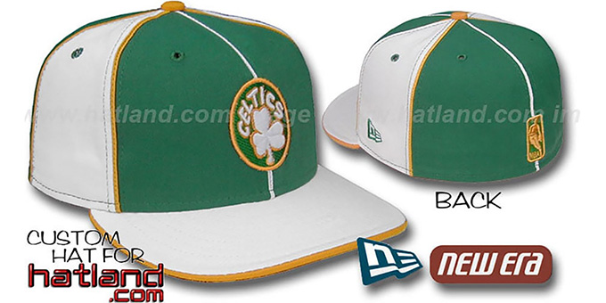 Celtics 'OLD SCHOOL PINWHEEL-3' Green-White Fitted Hat : pictured without stickers that these products are shipped with