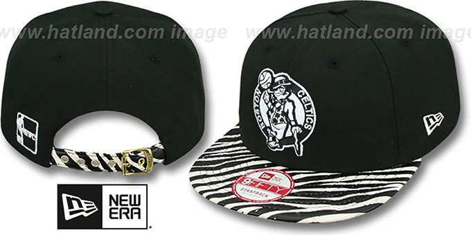 Celtics 'OSTRICH-ZEBRA STRAPBACK' Hat by New Era : pictured without stickers that these products are shipped with