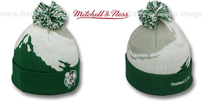 Celtics 'PAINTBRUSH BEANIE' by Mitchell and Ness : pictured without stickers that these products are shipped with