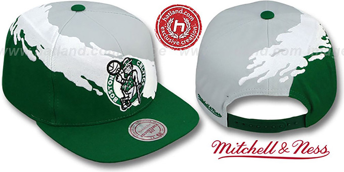 Celtics 'PAINTBRUSH SNAPBACK' Grey-White-Green Hat by Mitchell & Ness : pictured without stickers that these products are shipped with