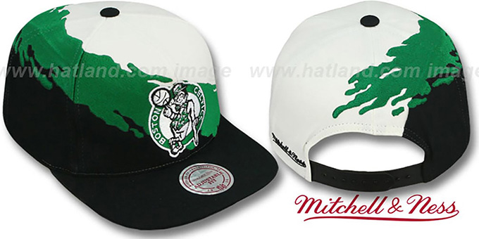 b50fd74bc14 Celtics  PAINTBRUSH SNAPBACK  White-Green-Black Hat by Mitchell   Ness