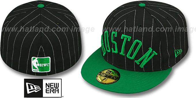 Boston Celtics PIN-SCRIPT Black-Green Fitted Hat by New Era 20bf100753c