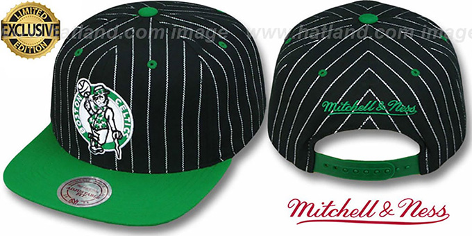 Celtics 'PINSTRIPE 2T TEAM-BASIC SNAPBACK' Black-Green Adjustable Hat by Mitchell & Ness : pictured without stickers that these products are shipped with
