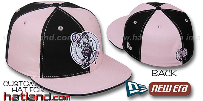 Celtics 'PINWHEEL' Black-Pink Fitted Hat by New Era : pictured without stickers that these products are shipped with