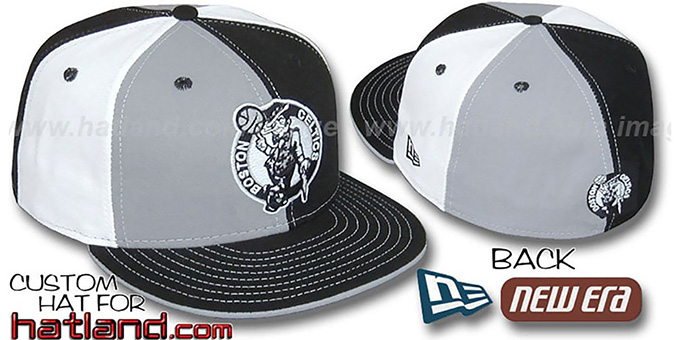 Celtics 'PINWHEEL' Grey-Black-White Fitted Hat by New Era : pictured without stickers that these products are shipped with