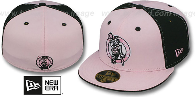 Celtics 'PINWHEEL' Light Pink-Black Fitted Hat by New Era : pictured without stickers that these products are shipped with