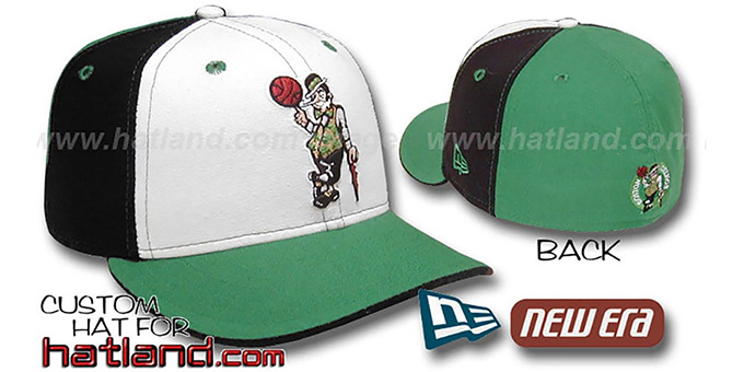 Celtics 'PINWHEEL' White-Black-Kelly Fitted Hat by New Era : pictured without stickers that these products are shipped with