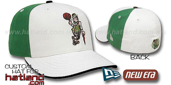 Celtics 'PINWHEEL' White-Kelly Fitted Hat by New Era : pictured without stickers that these products are shipped with