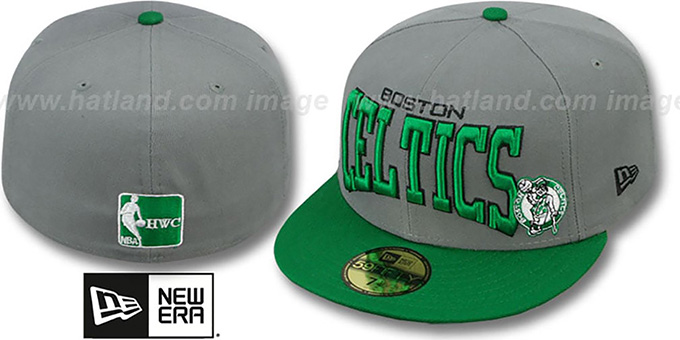 Celtics 'PRO-ARCH' Grey-Green Fitted Hat by New Era : pictured without stickers that these products are shipped with