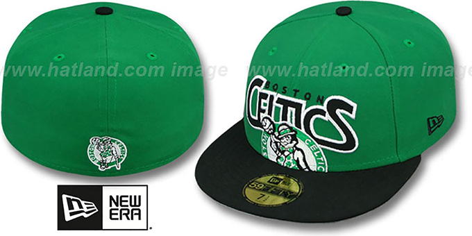 Celtics 'PROFILIN' Green-Black Fitted Hat by New Era : pictured without stickers that these products are shipped with