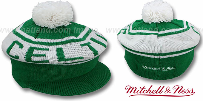 Celtics 'RERUN KNIT BEANIE' by Mitchell and Ness : pictured without stickers that these products are shipped with