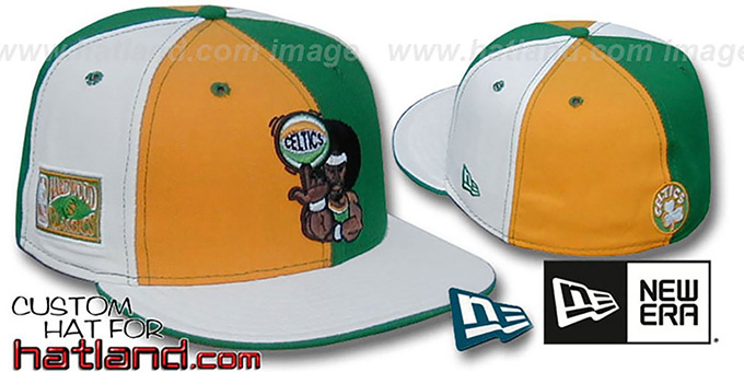 Celtics 'RETRO MAN PINWHEEL' Gold-Green-White Fitted Hat : pictured without stickers that these products are shipped with