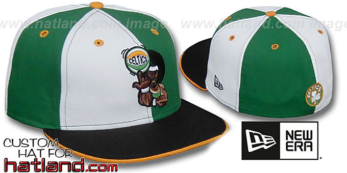 Celtics 'RETRO MAN PINWHEEL' White-Kelly Fitted Hat : pictured without stickers that these products are shipped with