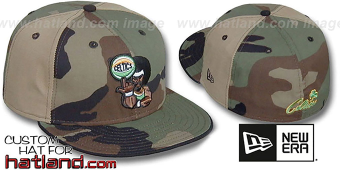 Celtics RETROMAN CAMO 'PINWHEEL' Woodland-Tan Fitted Hat : pictured without stickers that these products are shipped with