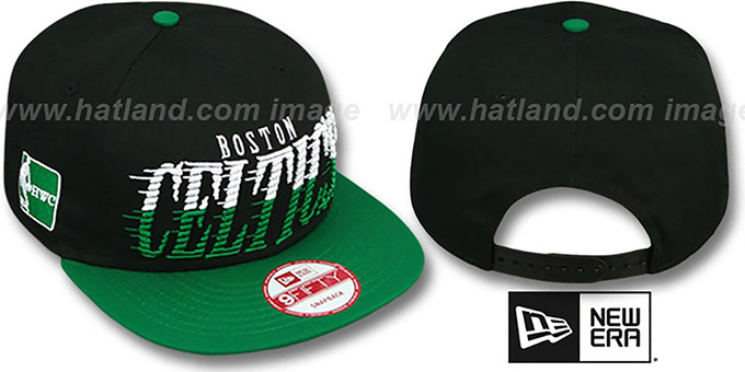 Celtics 'SAILTIP SNAPBACK' Black-Green Hat by New Era : pictured without stickers that these products are shipped with