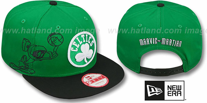 Celtics 'SIDE-TEAM' MARVIN MARTIAN SNAPBACK Hat by New Era : pictured without stickers that these products are shipped with