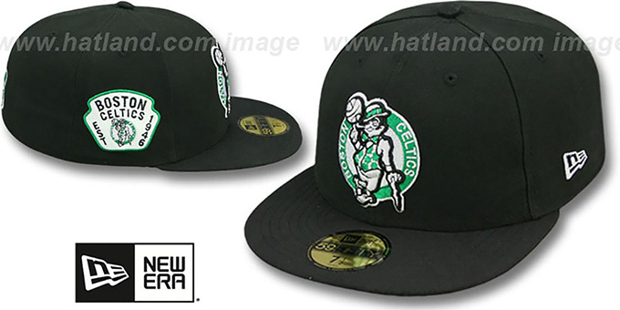 Celtics 'SIDE TEAM-PATCH' Black Fitted Hat by New Era : pictured without stickers that these products are shipped with