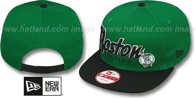 Celtics 'SNAP-IT-BACK SNAPBACK' Green-Black Hat by New Era : pictured without stickers that these products are shipped with