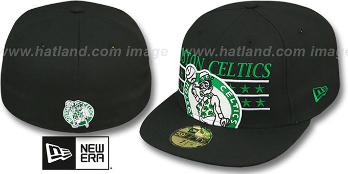 Celtics 'STAR STUDDED' Black Fitted Hat by New Era : pictured without stickers that these products are shipped with