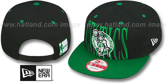 Celtics 'STEP-ABOVE SNAPBACK' Black-Green Hat by New Era : pictured without stickers that these products are shipped with