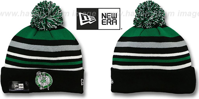 Celtics 'STRIPEOUT' Knit Beanie Hat by New Era : pictured without stickers that these products are shipped with