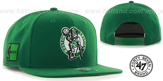 Celtics 'SURE-SHOT SNAPBACK' Green Hat by Twins 47 Brand : pictured without stickers that these products are shipped with