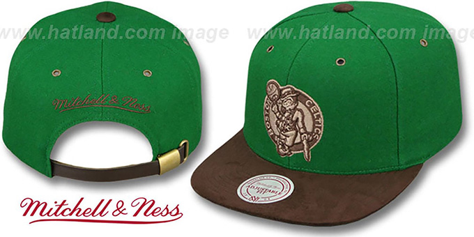 Celtics 'TC-BROWN SUEDE STRAPBACK' Hat Mitchell & Ness : pictured without stickers that these products are shipped with