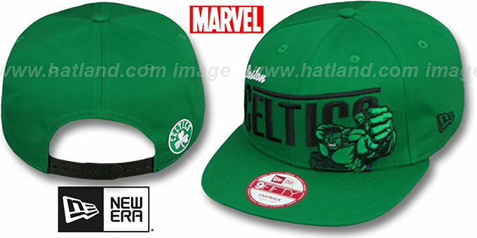Celtics 'TEAM-HERO SNAPBACK' Green Hat by New Era : pictured without stickers that these products are shipped with